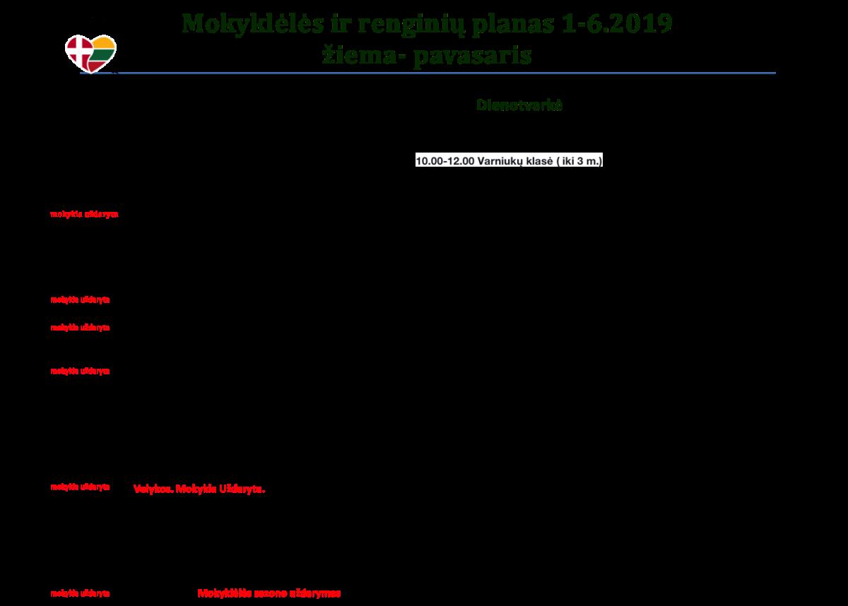 Mokyklos ir renginių planas 2019